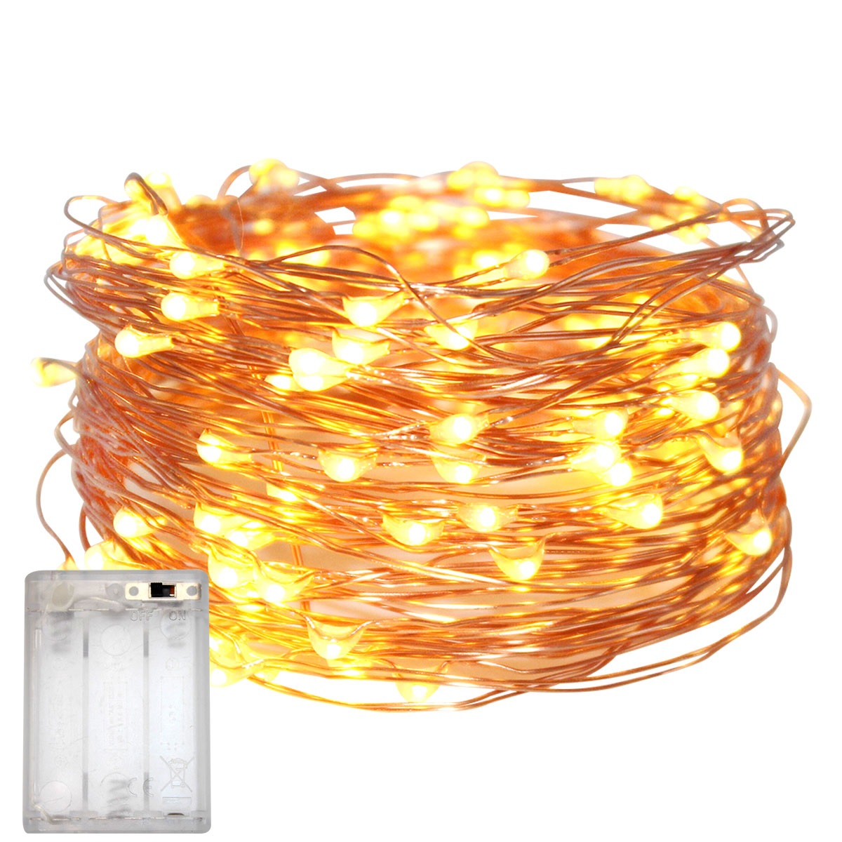 T Tersely Fairy Lights Battery Operated String Lights Waterproof 3xaa Battery Case Not Including Batteries Indoor Fairy String Lights For Christmas Tree Wedding Party Events Garden Spring Decoration Warm White Fairy Lights Battery